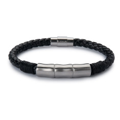 Leather Jawbone Bracelet - Silver