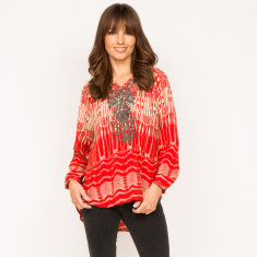 Lulu top in linear red