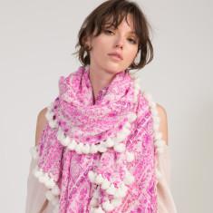 Naomi Tassel Scarf in Pink Floral