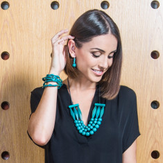 Faceted bars necklace and earring set in teal