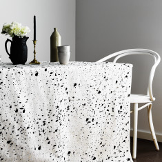 Black Ink Splatter linen tablecloth