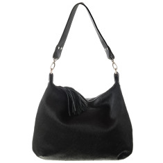 Alice Black Calf-Hair/Black Leather Bag