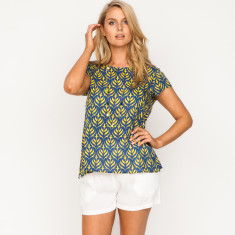 Leanne peony yellow & navy top