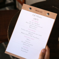 Custom mahogany A4 menu & price list holder