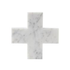 Cross Trivet In Carrara Marble
