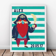 Personalised pirate birth print