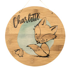 Personalised colour tribal fox bamboo wall hanging