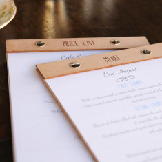 Custom mahogany A5 menu & price list holder