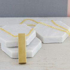 Chunky Gold Bar Long Drop Necklace