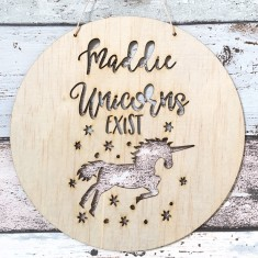 Personalised Unicorns Exist custom name wood plaque/hanging art