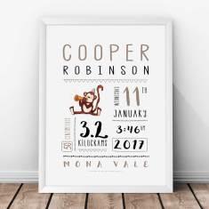 Personalised Monkey Birth Print