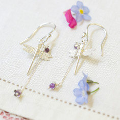 Amanda Coleman - dragonfly & little flower drop earrings