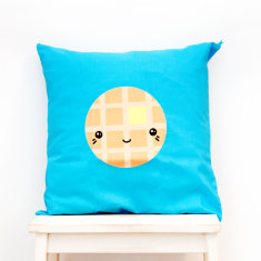 Happy Waffle - Kawaii Food Cushion Cover