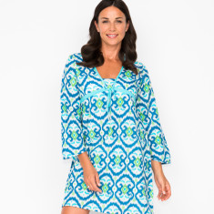 Lorenza ikat navy dress