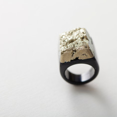 Pyrite and Agate Hand Carved Ring