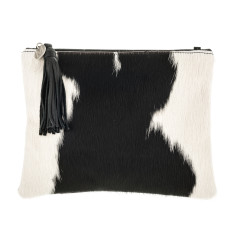 Jem Black + White Leather Clutch