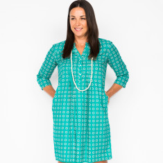 Clarissa dress in block teal