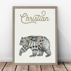 Personalised Scandinavian Bear Kids' Print