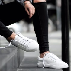 Monogrammed leather sneakers