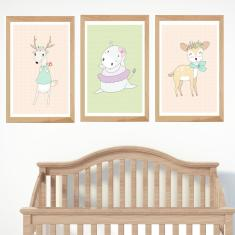 Vintage days deer animal prints (set of 3)