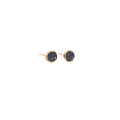 Mini Circle Dark Grey Drusy Stud Earrings