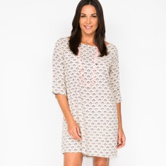 Beatrix dress in fan cream print
