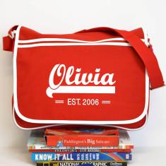 Personalised Red Retro Messenger Bag