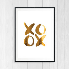 XOXO Hugs and Kisses - Gold Foil Art Print (white)
