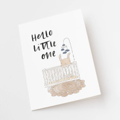 Hello little one new baby illustrated greeting card