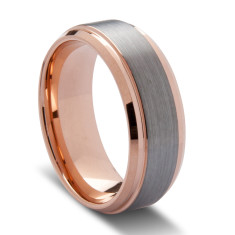 Charcoal and Rose Gold Tungsten Ring