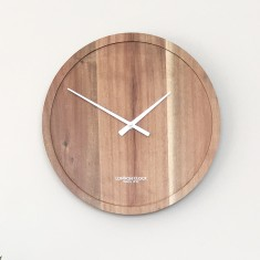 London Clock Company Pure Solid Acacia Wood Wall Clock 35cm