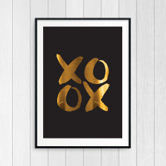 XOXO Hugs and Kisses - Gold Foil Art Print (black)