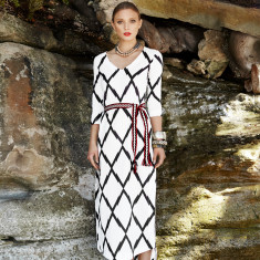 The Mykonos kaftan in black and white print