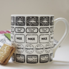 Illustrated biscuit block mug