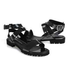 Comet sandals in metallic black