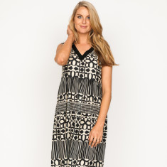Evie spot & stripe black dress