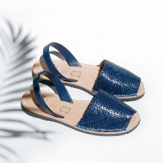 Fornells braided leather sandals in navy
