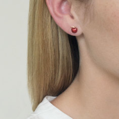 Apple studs red enamel & 18k rose gold vermeil