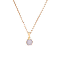 Mini Hexagon Light Grey Drusy Pendant Necklace