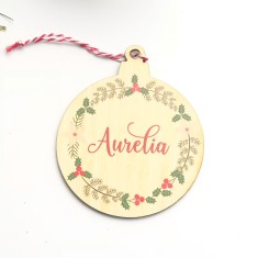 Personalised Christmas Tree bauble shaped ornament - Wreath