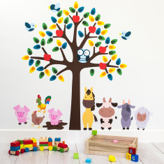 Tree With Farm Animals Wall Sticker