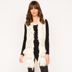 Isla vest in plain black and plain off-white