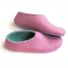 Women's felted slippers in lilac mint