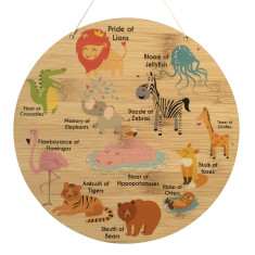Animal Collective nouns bamboo wood wall hanging