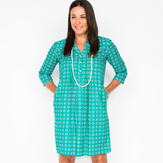Clarissa block teal dress