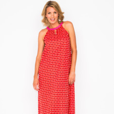 Zoe geo red maxi dress