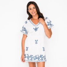 Rosa embroidered dress in white with navy