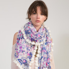 Naomi Tassel Scarf in Multicoloured Floral