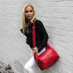 Avery Leather Handbag - Red (Cross Body & Shoulder Bag)