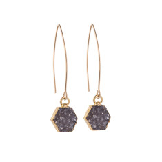 Mini Hexagon Drusy Dropper Earrings